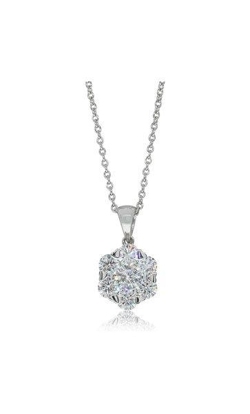 18ct white gold .99ct diamond cluster pendant