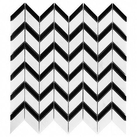 Pure White CHEVRON mix - DUNIN. geometria, chevron, jodełka, biała mozaika, czarna mozaika, biało-czarna mozaika, biało-czarna jodełka, design, wnętrza, decor