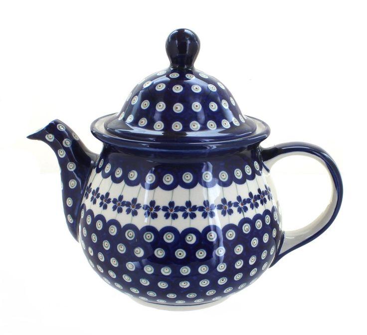 Flowering peacock large teapot tea pots polish pottery