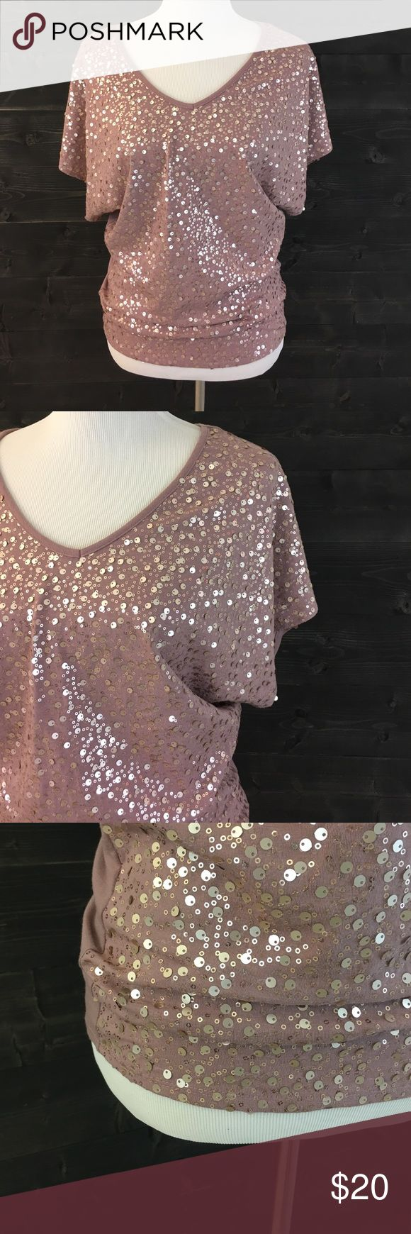 HP Studio Y Sequin Dolman V Neck Top Studio Y knocked this one out of the park! This shirt is a true eye catcher! The color alone is so elegant and perfect to dress up or like I did with a Denim mini skirt. You truly cannot go wrong with this gorgeous piece! Shirt: Style Dolman - Excellent like new condition - Maurices Studio Y Tops
