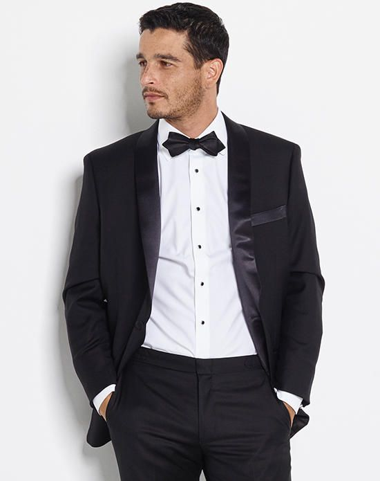 Shawl Collar Tuxedo with Cotton Dress Shirt and Black Satin Diamond Self-Tie Bow Tie | The Black Tux | https://www.theknot.com/fashion/the-beardsley-outfit-the-black-tux-tuxedo