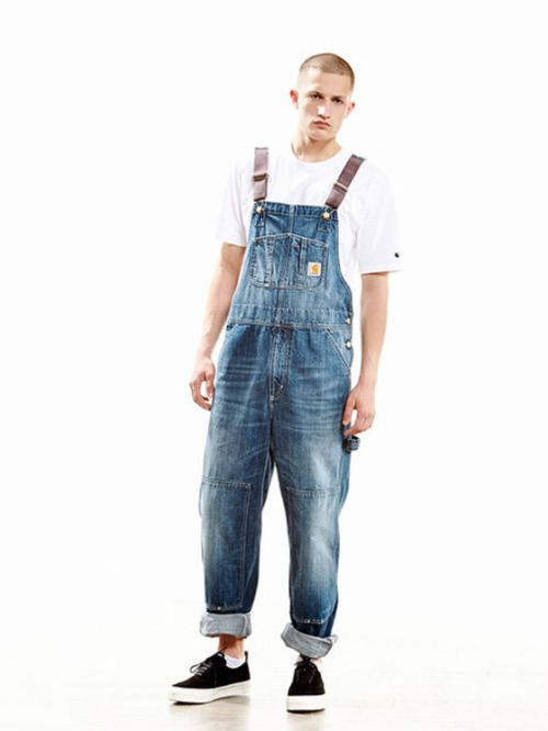 Carhartt bib overalls, white t-shirt, black shoes