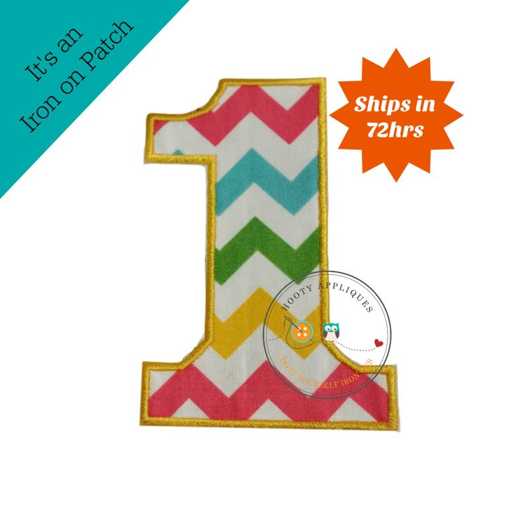 Large teal, yellow, green and pink chevron number 1- iron on patch