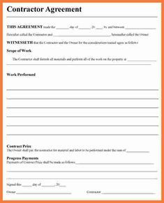 free contractor agreement template business pinterest