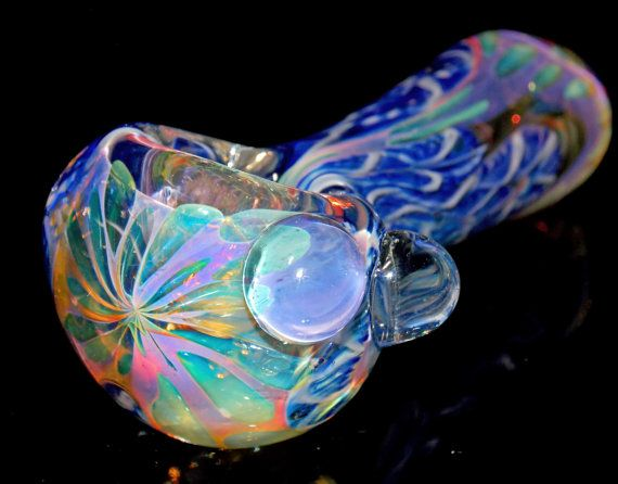 Heady Pink & Blue Glass Spoon Pipe Flower by VisceralAntagonisM