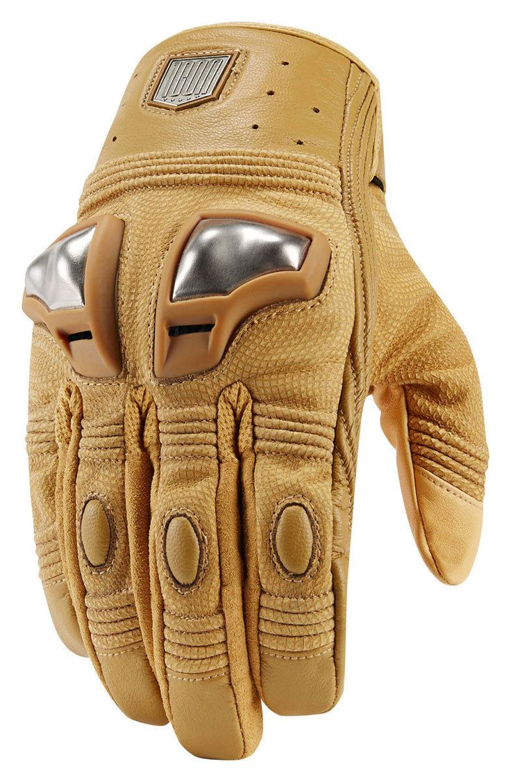 ICON 1000 RETROGRADE Leather Motorcycle Gloves (Tan) 2XL (2X-Large)