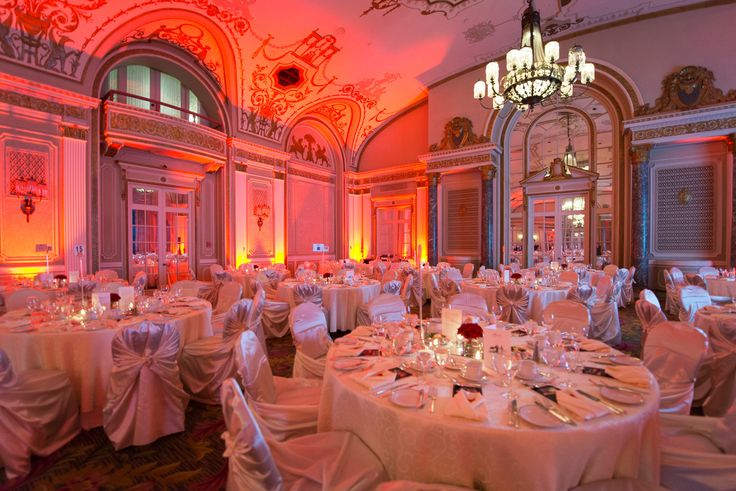 Faimont Chateau Laurier. Ivory tablecloths. Ivory satin chair covers. Gala reception. Uplighting. Photo by Henry Fernando Photography