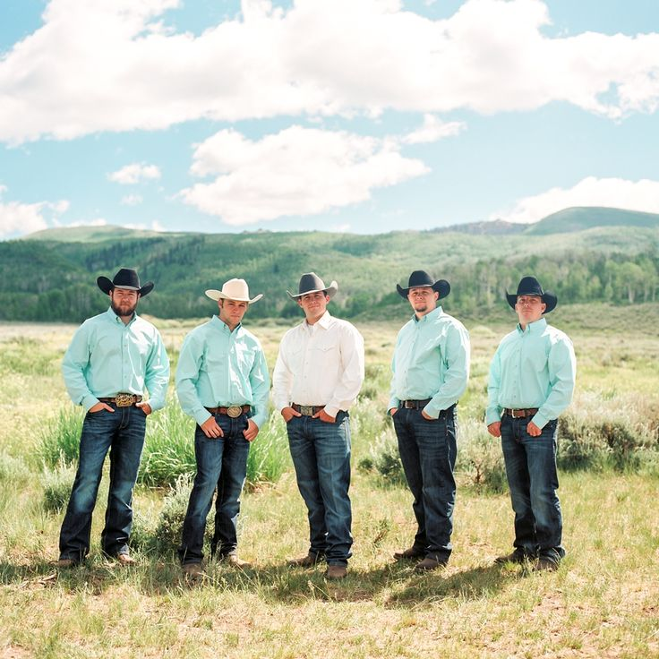 Cody + Talia {A Mountain Wedding Ceremony} Groomsmen in cowboy hats, Wranglers, cowboy boots, and aqua shirts. Strawberry Valley, Utah. Flowers by Blossom Sweet. Tracy Hill Photography