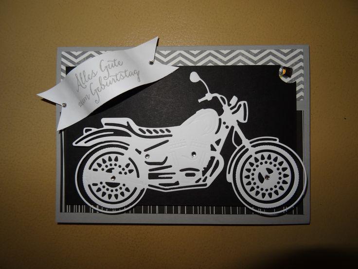 Karte Geburtstag Stampin up Geburtstagskarte Männer Motorrad Flüsterweiß Schwarz Grüße