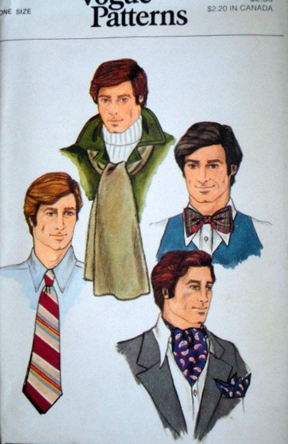 f27f32b5b8e8 Vintage 70's Vogue 9352 Men's Accessories Pattern, Tie, Bow Tie, Ascot,  Scarf & Handkerchief, One Size, Uncut FF, 1970's Men's Fashion