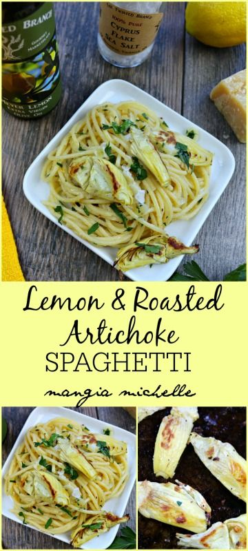 Lemon and roasted artichoke spaghetti is a delicious and easy dish to make any night of the week ~ www.mangiamichelle.com