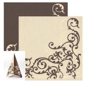POMP brown/creme  - luxusné svadobné servítky z netkanej textílie, ornament, hnedá, krémová rozmer 40x40