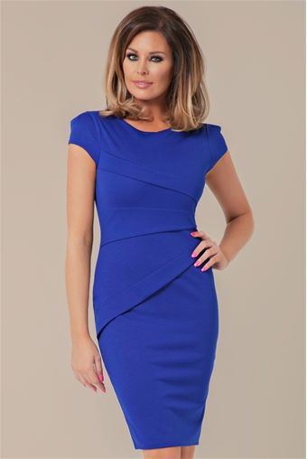 This cap sleeve panel dress by Jessica Wright is Sophisticated and stylish. With its striking colour and panel detail this dress is elegant from top to bottom.