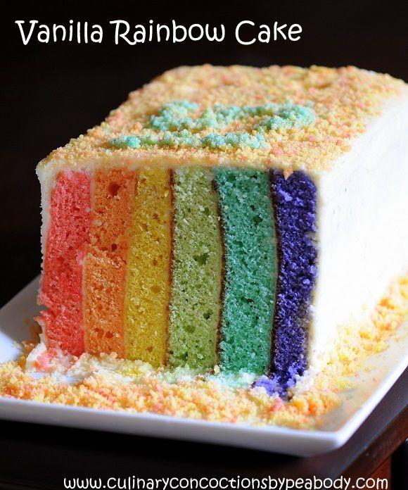 Vanilla Rainbow Cake  Culinary Concoctions by Peabody