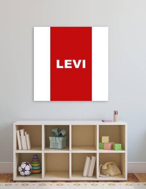 Voor de echte fans uit Amsterdam een canvas muurdecoratie in eigen clubkleuren. Ideaal voor de babykamer of kinderkamer. Deze decoratie wordt GRATIS voor jou gepersonaliseerd (bijv. met je voor- of achternaam. Verkrijgbaar in diverse afmetingen.