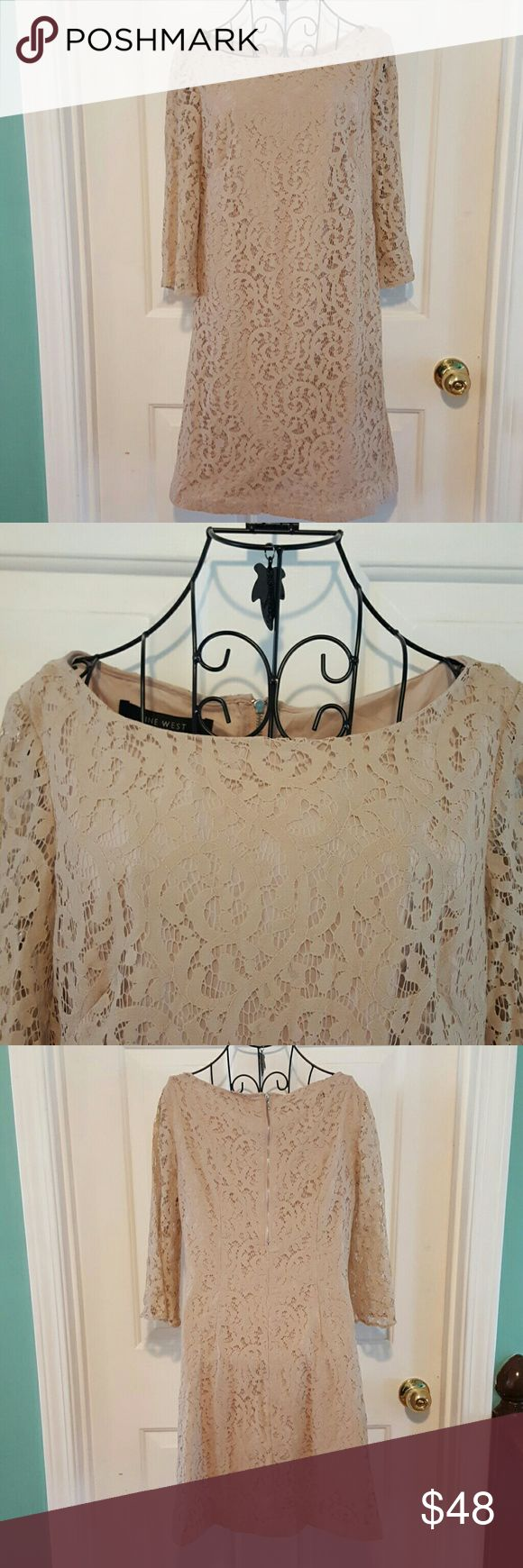 SALE!! Nude lace dress NWOT. Beautiful nude dress with lace overlay. 3/4 length sleeves. Half back zip. Pretty ballet neck. Nine West Dresses Long Sleeve