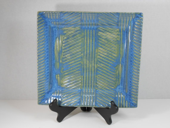 Textured Ceramic Tray Serving Platter Bright Blue And