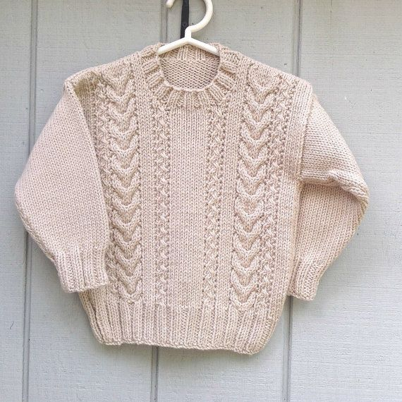 Age 4 years Boys tan Aran sweater Boys school by LurayKnitwear, $38.00