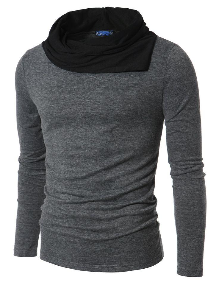 Mens shirt Casual Shirring Turtleneck Shirt (DAK10) Doublju