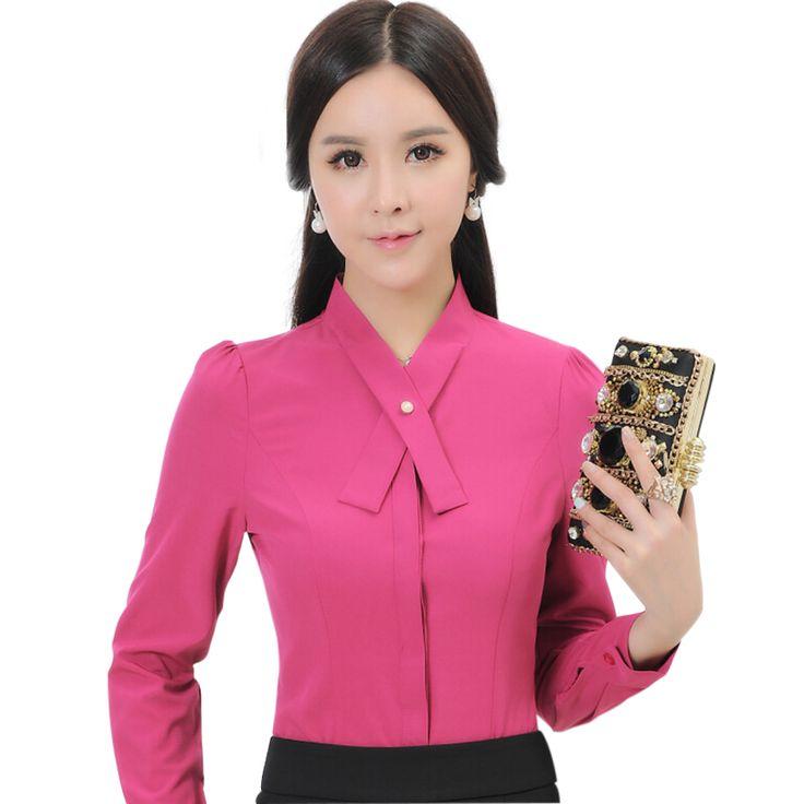 Купить Профессионального женского с бантом рубашка с длинными рукавами тонкий пр формальные рабочая одежда элегантный женский шифон блузка Большой размер мода офис топыи другие товары категори�%B