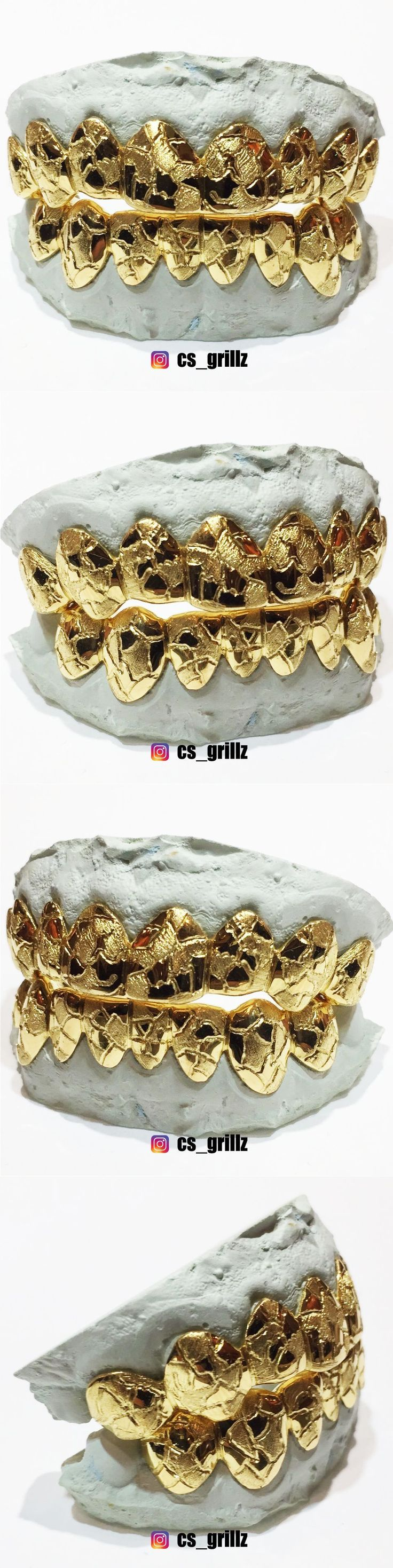 Grillz Dental Grills 152808: Sterling Silver W/ 18K Yellow Gold Plated Nugget Cut Custom Fit Real Grillz BUY IT NOW ONLY: $110.0