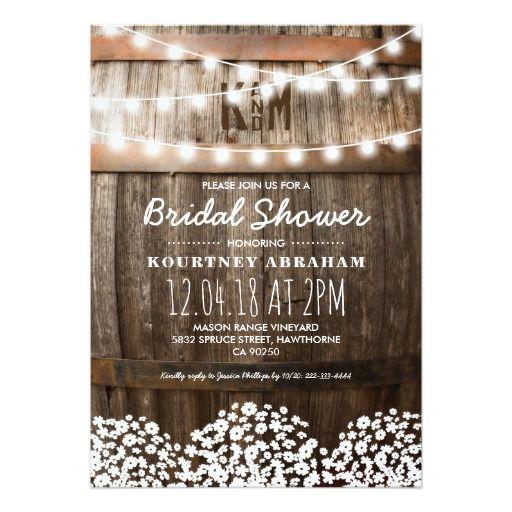 babyu0027s breath rustic wood bridal shower card