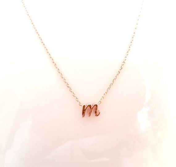 Lower case Initial Necklace Rose gold initial Necklace