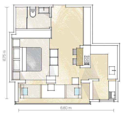 Com a incorporação da varanda, a área que engloba sala e quarto cresceu 6,50 m². A cozinha também foi integrada ao estar. Onde antes ficavam a parede e a porta, foi erguida a bancada, que embute o fogão e o pranchão de madeira maciça, que faz as vezes de mesa de refeição. Para não comprometer a amplitude visual, um móvel baixo setoriza o dormitório.