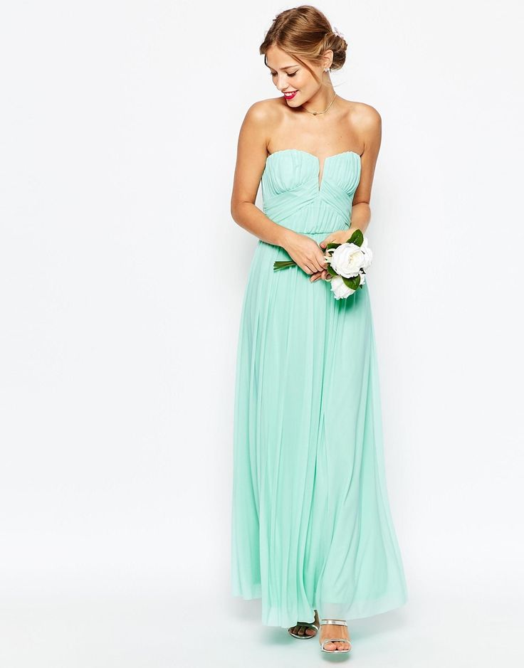 Ruched Bodice Bandeau Maxi Dress