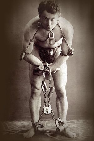 Harry Houdini: Vintage Circus Poster.  Avery read a book on Houdini, he was fascinated by him