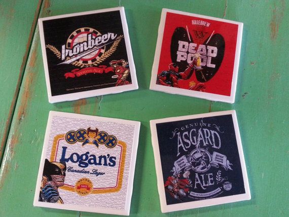 Check out this item in my Etsy shop https://www.etsy.com/listing/237546160/marvel-beer-theme-ceramic-coasters-set