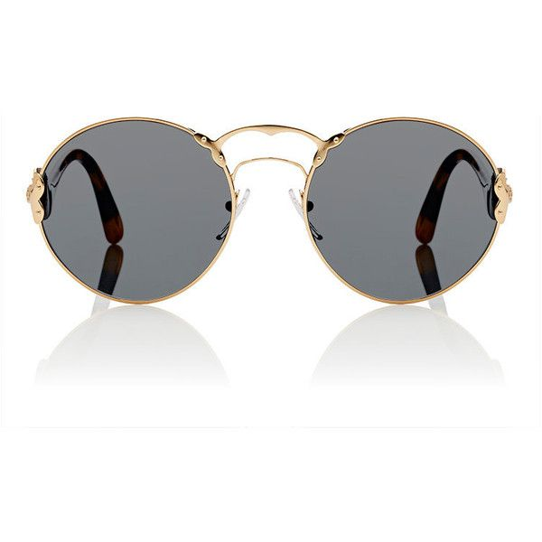 Prada Women's Round Sunglasses (£290) ❤ liked on Polyvore featuring accessories, eyewear, sunglasses, glasses, óculos, grey, prada sunglasses, oversized sunglasses, round tortoise sunglasses and round glasses