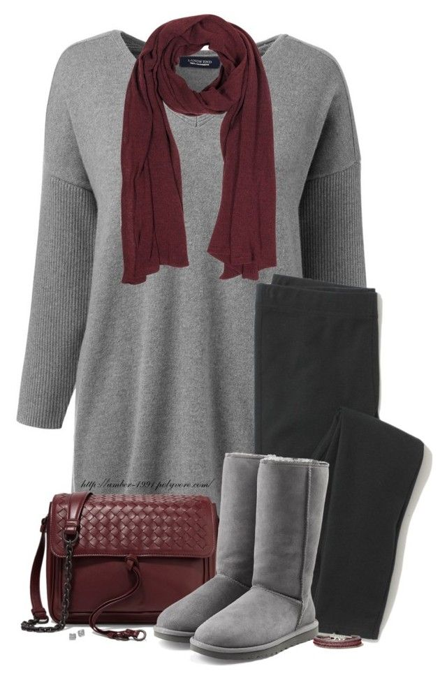 Tunic Sweater & Leggings by amber-1991 on Polyvore featuring Lands' End, Madewell, UGG, Bottega Veneta, Kate Spade, Hollister Co., Mila Schön, Boots, Sweater and Leggings