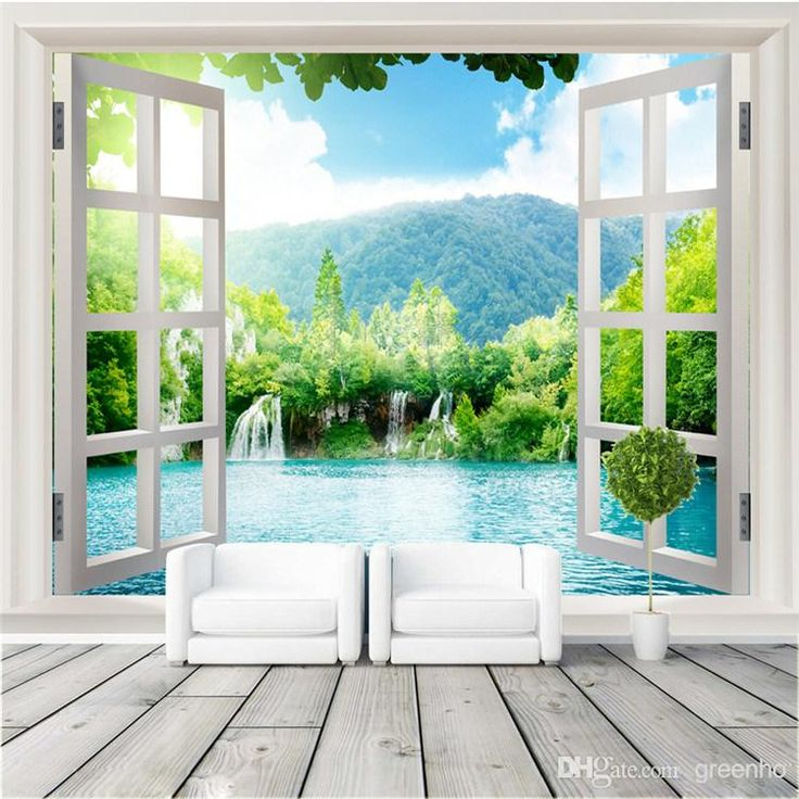 Window 3D waterfalls Forest View Wall Stickers art Mural Decal Wallpaper Living Bedroom Hallway Childrens Rooms