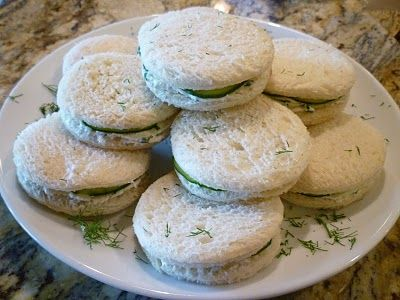 Chive Cream Cheese and Cucumber Tea Sandwiches. SO good.