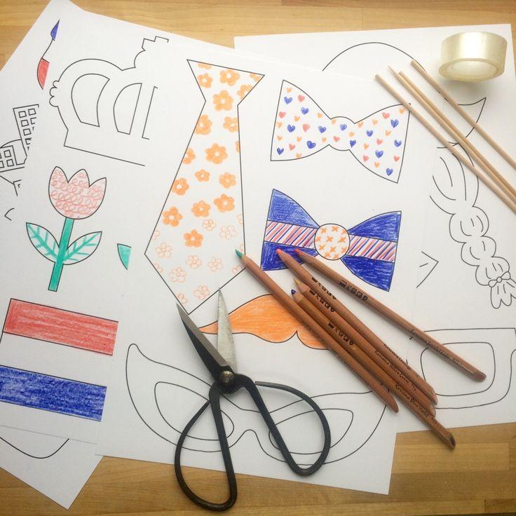 """Ideaal voor koningsdag, een """"Ik hou van Holland"""" thema of bij een feestje! Illustratrice Deborah van de Leijgraaf tekende deze geweldige props die je gekleurd kunt printen of zelf kan i…"""
