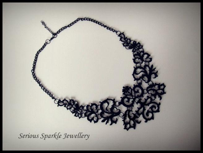 Striking Black Filigree Necklace $29.00