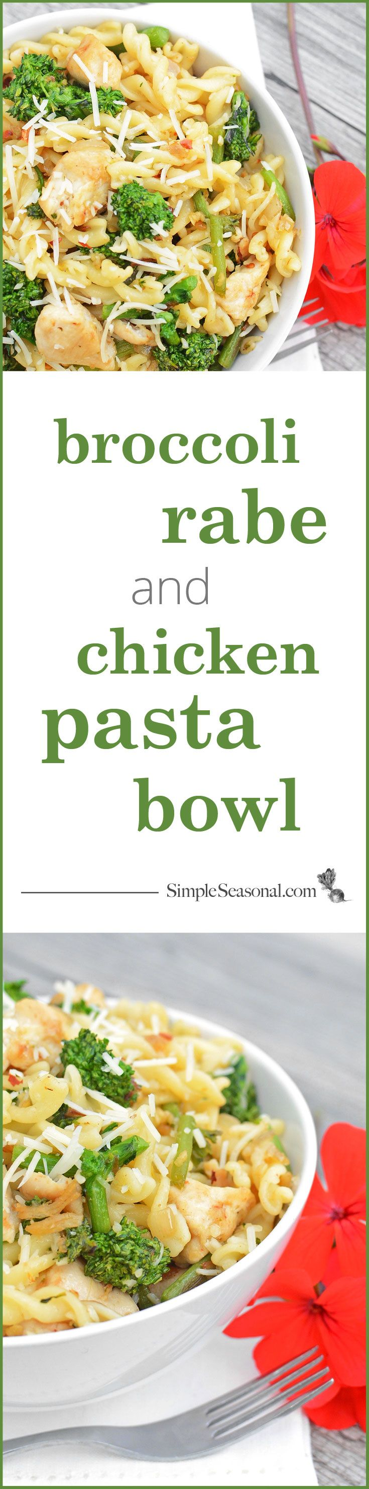 Broccoli Rabe and Chicken Pasta Bowl - Pasta bowls are a simple, flavorful, and easy to prepare weeknight dinner. The secret, however, to a truly delicious pasta bowl lies in attention to how the pasta is cooked. Learn the secret to making perfect pasta every time and test your new skills on this lovely dish that combines the spiciness of broccoli rabe with fresh garlic, juicy chicken tenderloin, and parmesan cheese.