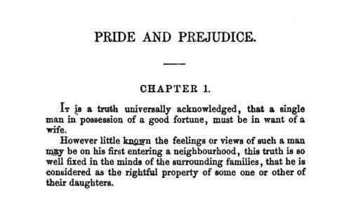 pride and prejudice first line