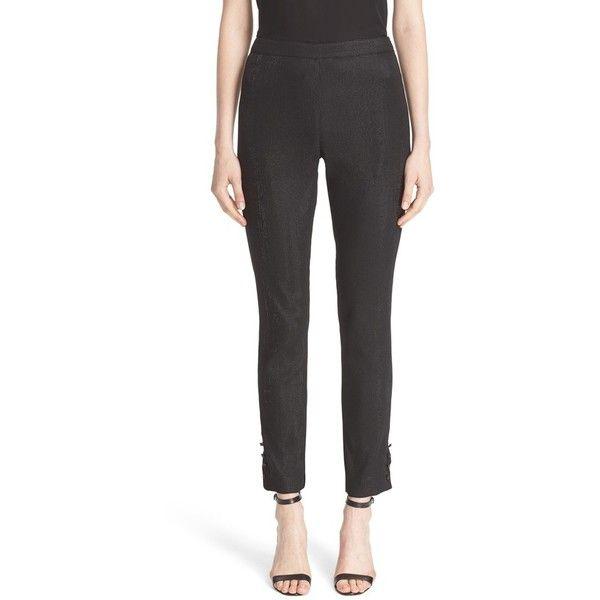 Women's St. John Collection Alexa Metallic Leggings (605 CHF) ❤ liked on Polyvore featuring pants, leggings, caviar, st john pants, sparkly leggings, holiday pants, holiday leggings and shiny metallic leggings