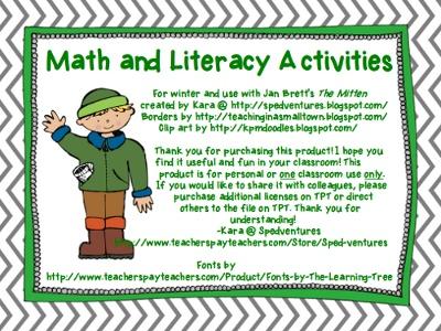 "Jan Brett's ""The Mitten"" math and literacy activities"