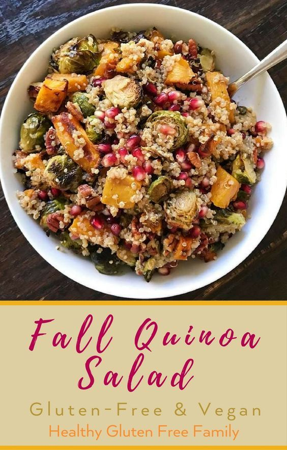 The best of Fall! Quinoa, Roasted Brussel Sprouts, Roasted Butternut Squash, Pecans and Pomegranates tossed in a Citrus Balsamic Dressing. A little savory, a little sweet, a little tart, a little tangy, a little crunch… so much yumm! Recipe from Emilie Eats, this salad is the best of Fall all wrapped up in one delicious salad… Perfect for Thanksgiving or anytime! #glutenfree