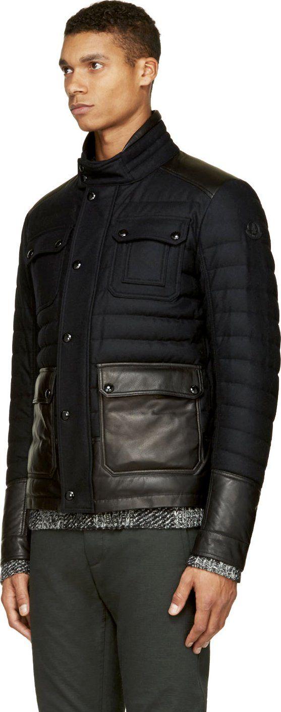 Moncler Black Quilted Wool Burton Jacket