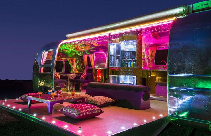 American Retro Caravans created this psychedelic party Airstream trailer for a client in Dubai, comp... - American Retro Caravans