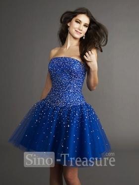 Deep Blue Strapless A-line Beading/Ruffle Satin/Fine-natting Short Cocktail Homecoming Dress.