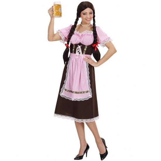 Lange Tiroler jurk voor dames. Deze lange Tiroler jurk is in de kleur bruin met roze en heeft korte mouwen. Leuk voor een Tiroler of bierfeest.