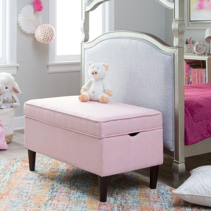 Classic Playtime Hannah Upholstered Storage Bench - Blush - RH160901-BLUSH