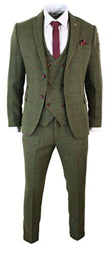 Mens-3-Piece-Herringbone-Tweed-Olive-Green-Wine-Check-Suit-Tailored-Fit-Double