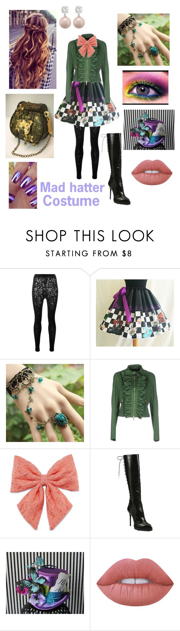 """Mad hatter costume"" by madycakes323 ❤ liked on Polyvore featuring McQ by Alexander McQueen, Dsquared2, Decree, Alexander McQueen and Lime Crime"
