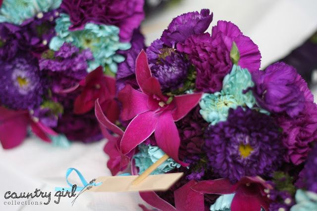 Teal and Purple Wedding Bouquet by Country Girl Collections